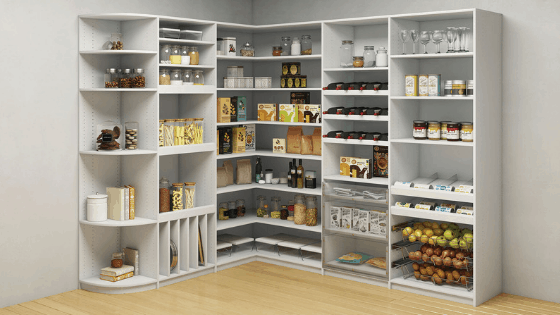 A custom pantry from Closets by Design.
