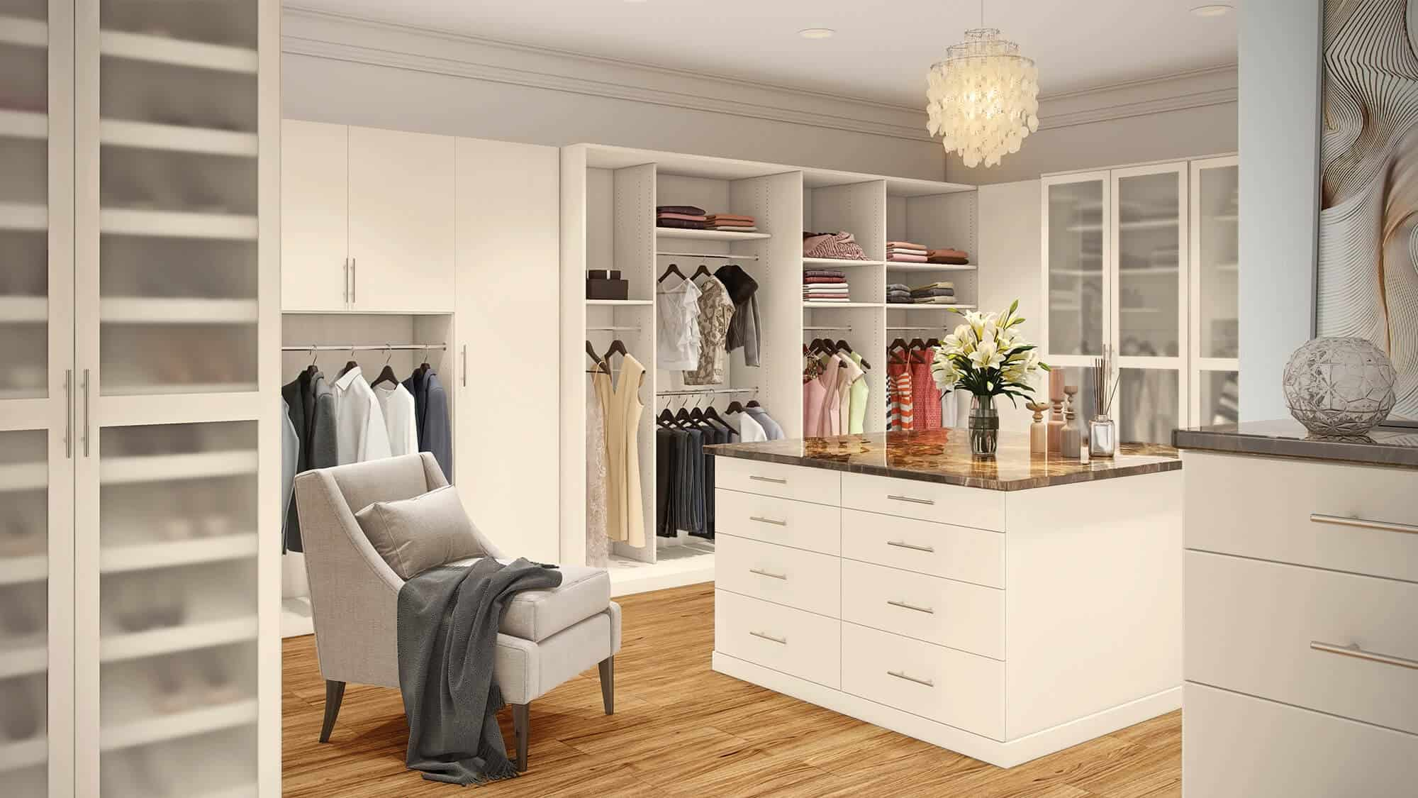 A custom walk-in closet from Closets by Design.