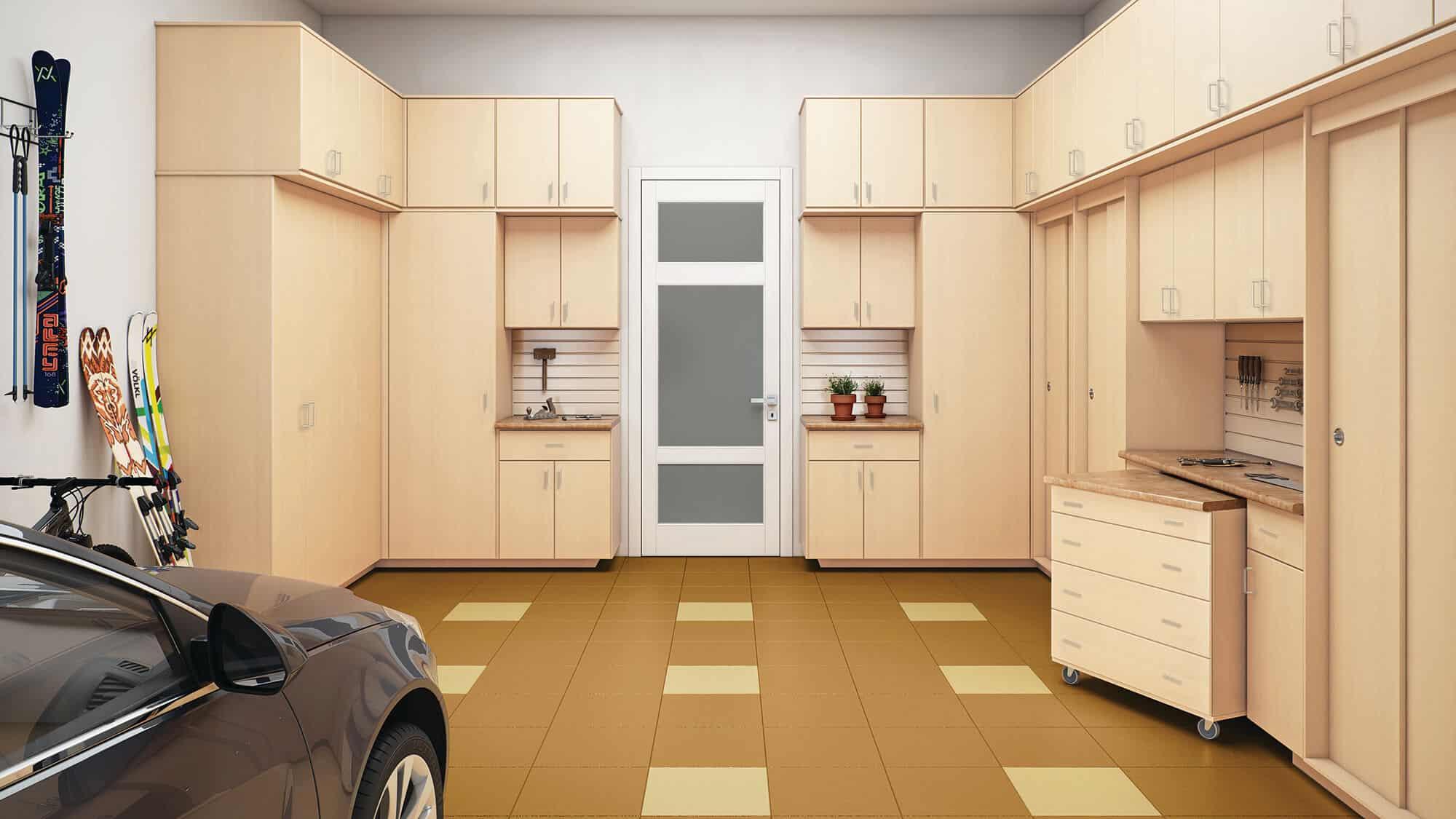 An organized custom garage from Closets by Design.