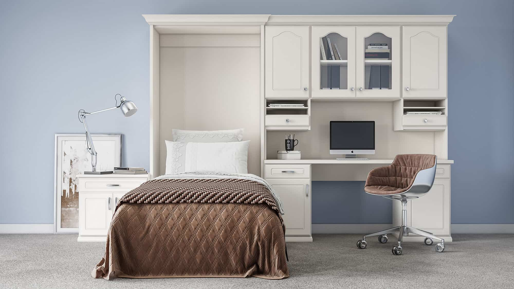 A custom guest room from Closets by Design featuring a wallbed.