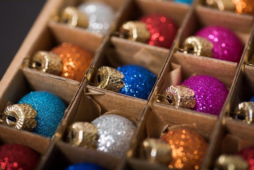 A box of nicely organized holiday decorations.
