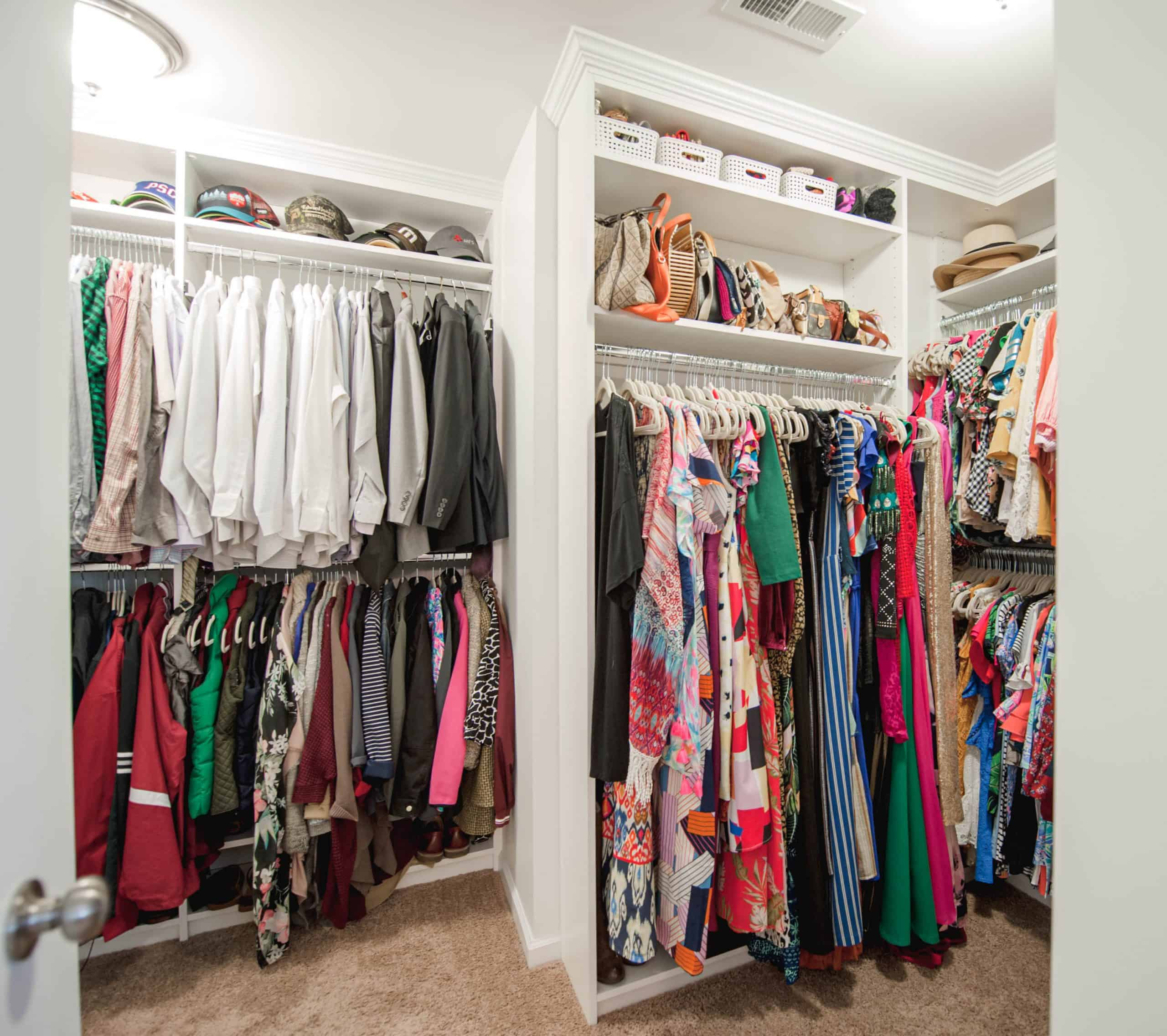 An organized custom closet from Closets by Design.