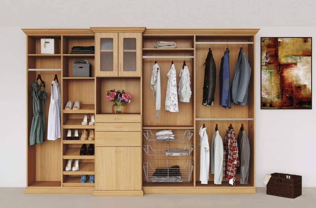 Everyday Closets collection in light wood finish.