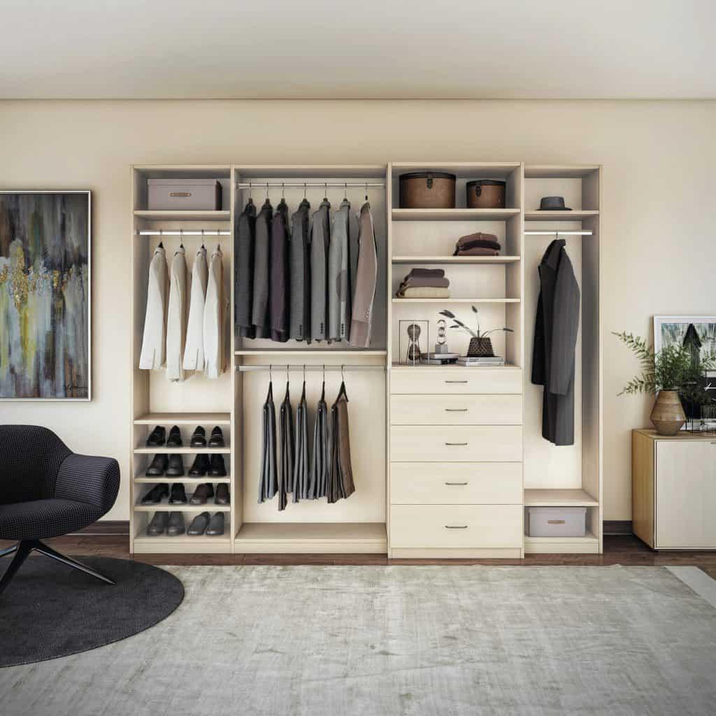 A custom closet system with straight shoe shelves.