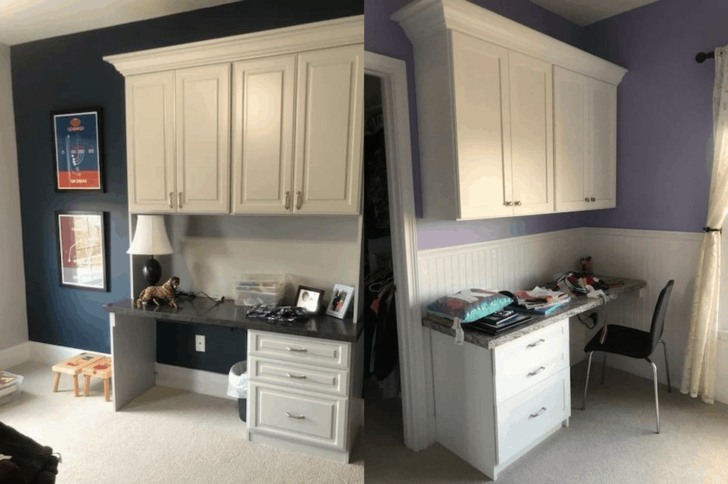 Examples of homework stations designed by Closets by Design