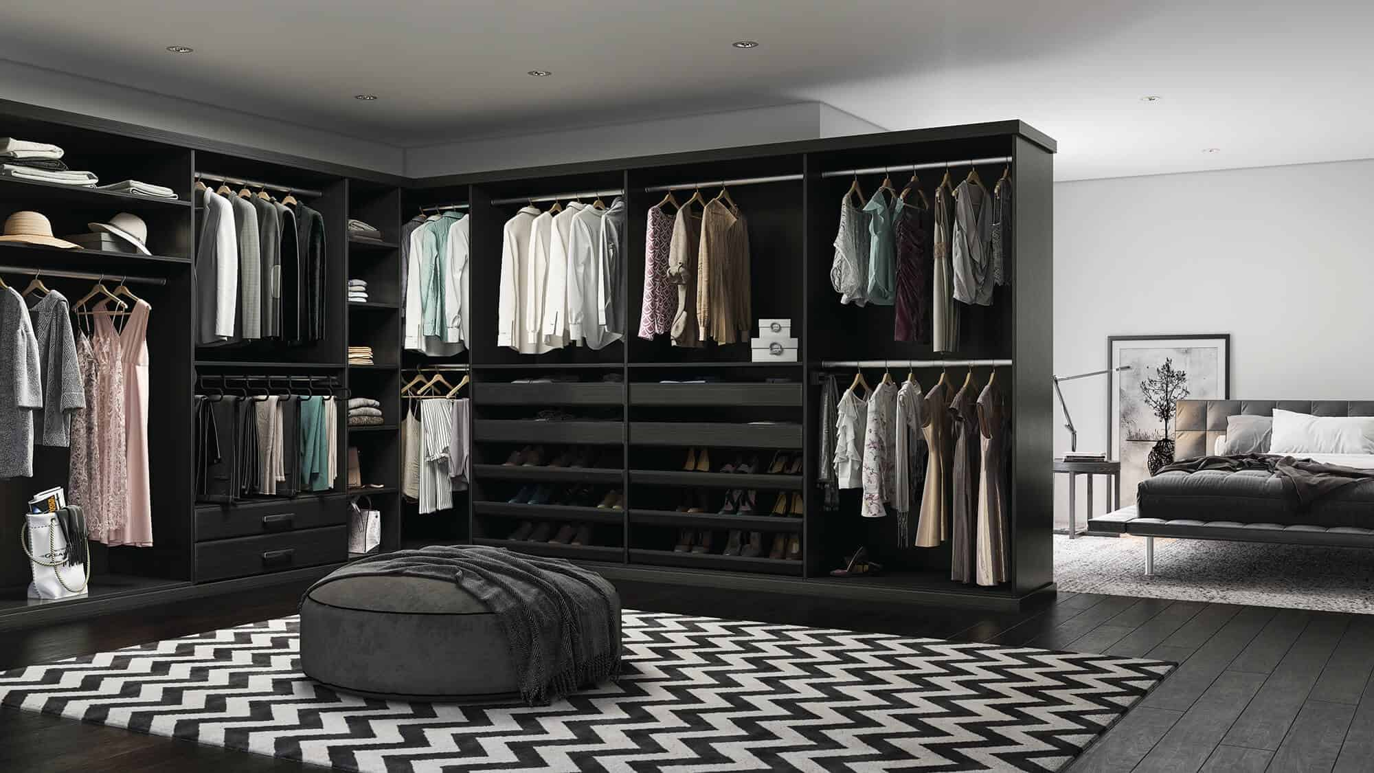 A walk-in closet with on-trend black and white decor.