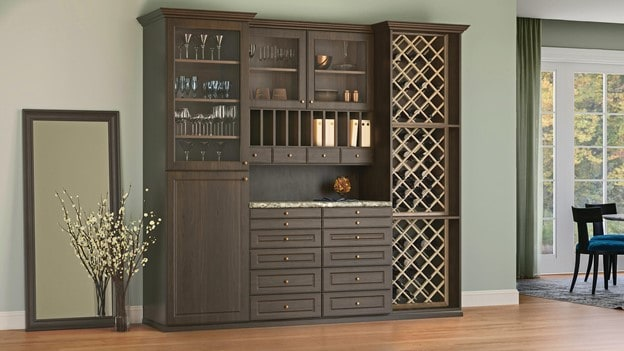 A custom wine rack and organization system from Closets by Design.